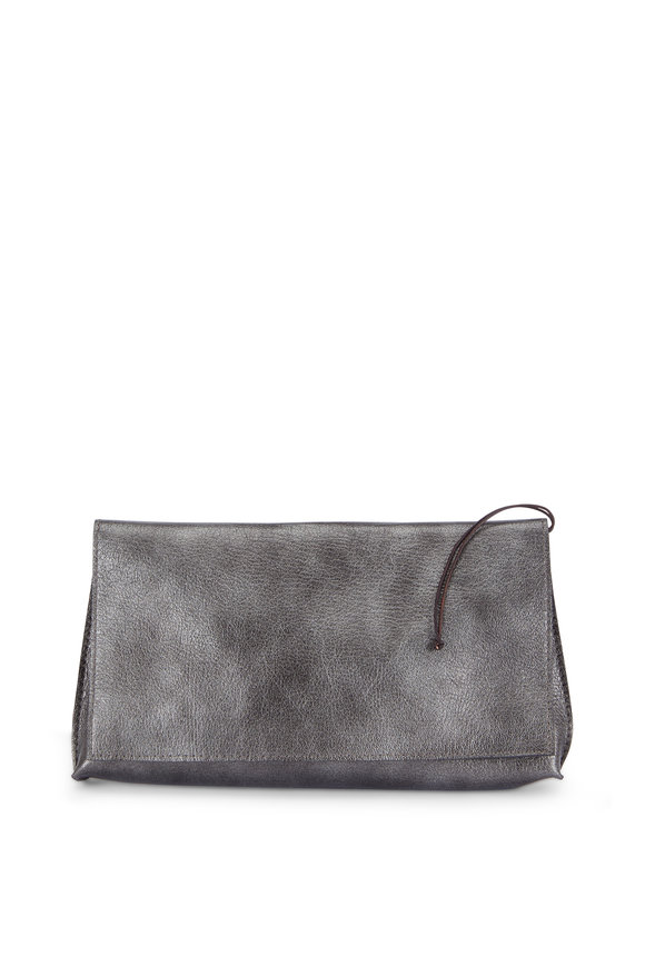 B May Bags Gunmetal Leather Foldover Clutch