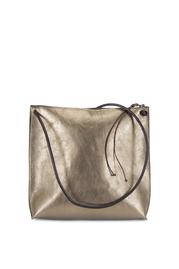 B May Bags Gold Leather Strappy Zip Pouch