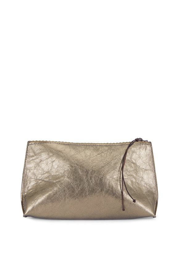 B May Bags Gold Leather Essential Zip Pouch