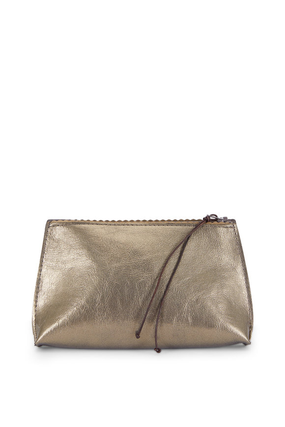 B May Bags Gold Leather Zip Lipstick Pouch
