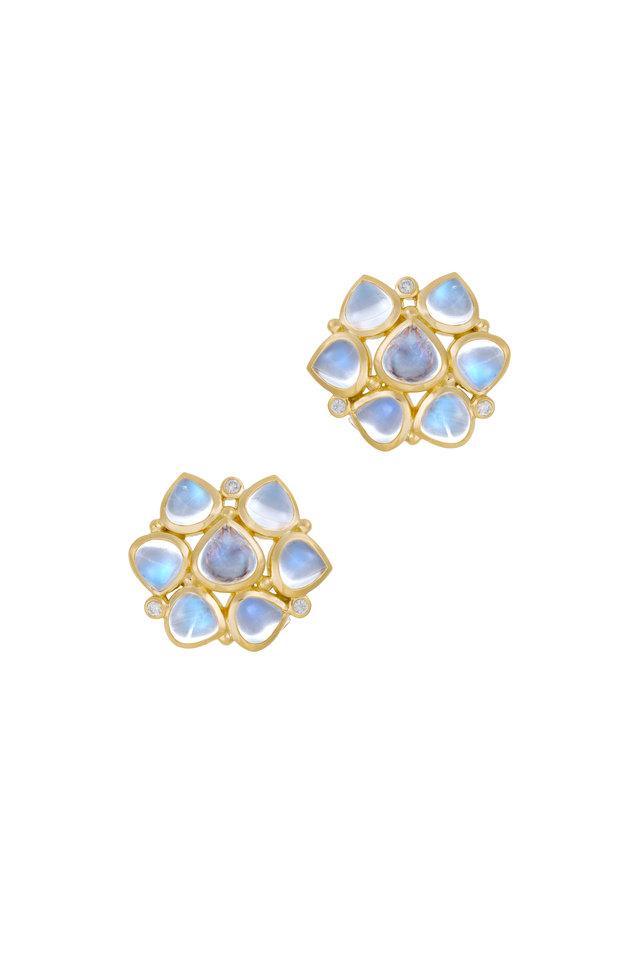 18K Gold Blue Moonstone & Diamond Earrings, 20.5mm