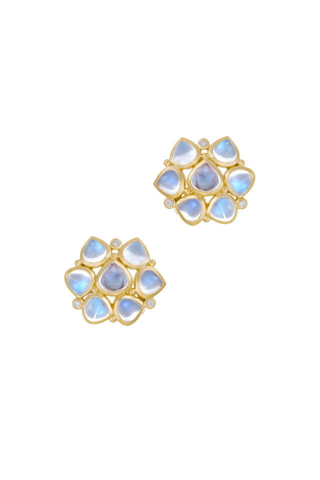 18K Gold Blue Moonstone & Diamond Earrings, 20.5mm