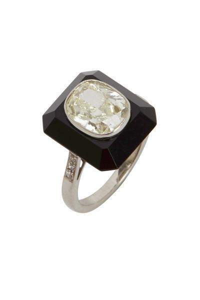 Fred Leighton - White Diamond & Black Onyx Tablet Ring