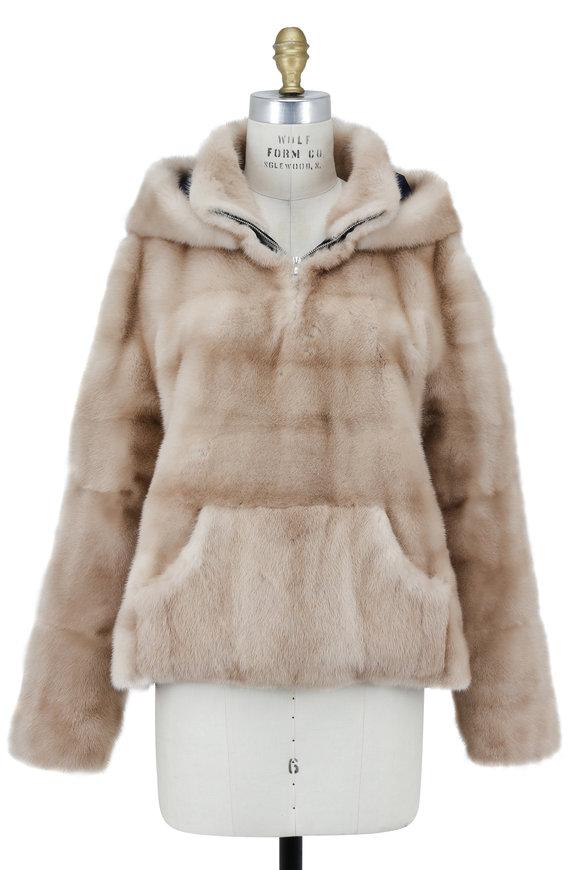 Oscar de la Renta Furs Natural Palomino Mink Hooded Pullover