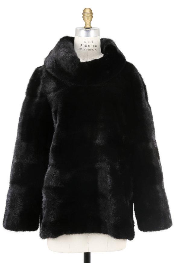 Oscar de la Renta Furs Black Mink Funnel Neck Pullover