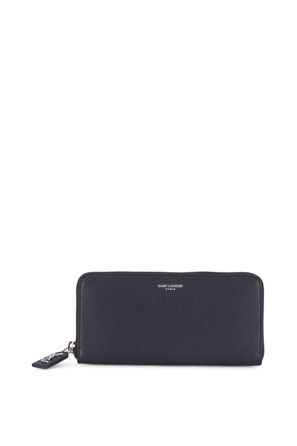 Saint Laurent Black Grained Leather Zip-Around Wallet