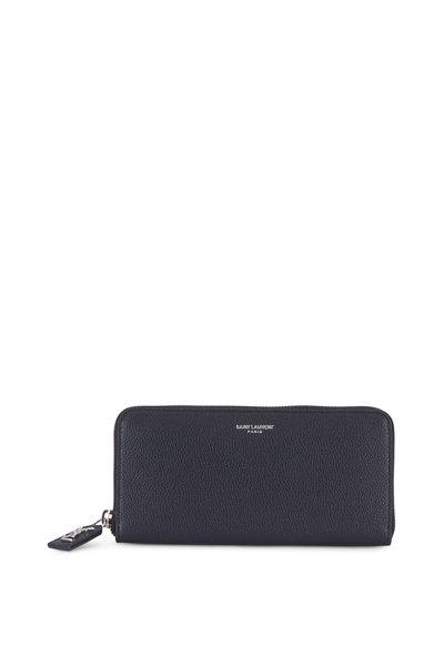 Saint Laurent - Black Grained Leather Zip-Around Wallet