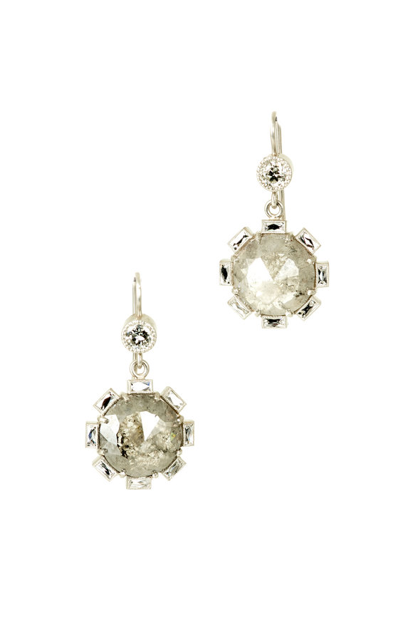 Sylva & Cie Platinum Rough Diamond Petal Earrings