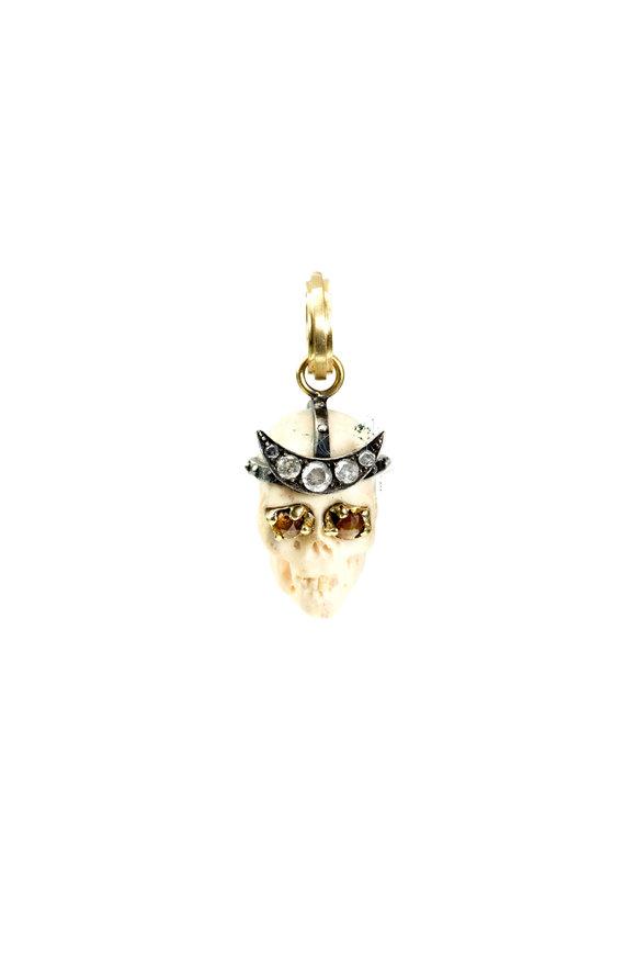 Sylva & Cie 18K Gold & Silver Diamond Lucy Skull Pendant
