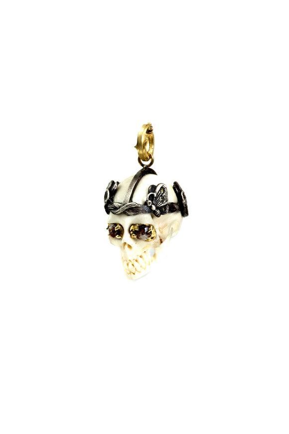 Sylva & Cie 18K Gold & Silver Diamond Fairy Skull Pendant