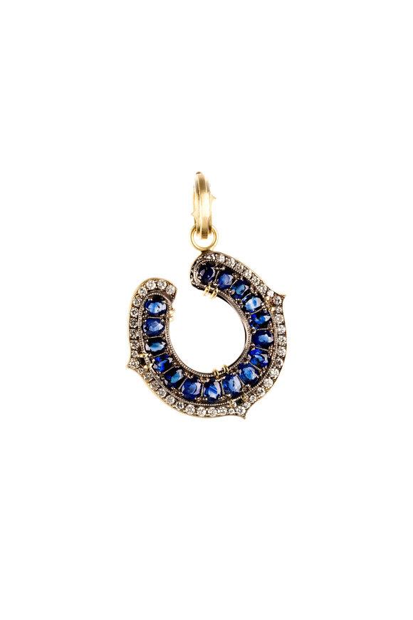 Sylva & Cie 18K Gold Sapphire & Diamond Horseshoe Pendant