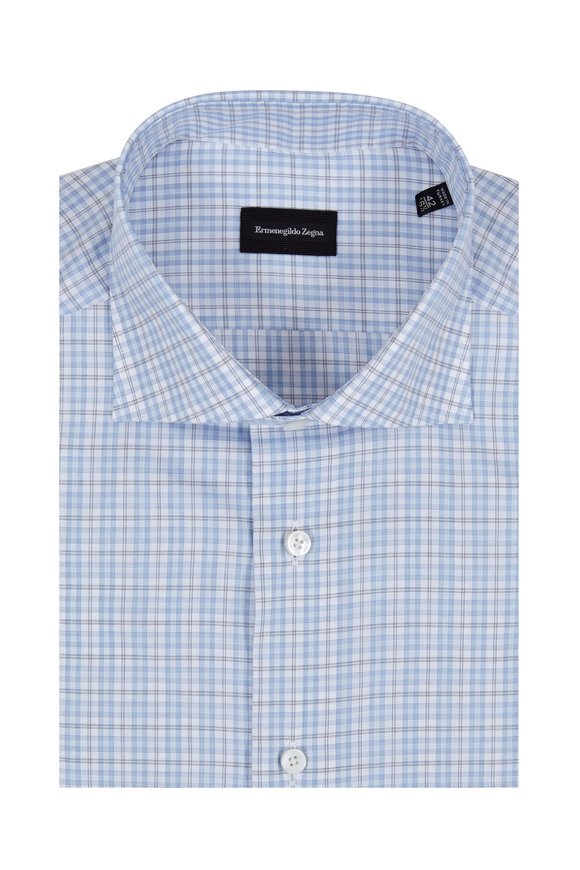 Ermenegildo Zegna Light Blue Check Dress Shirt
