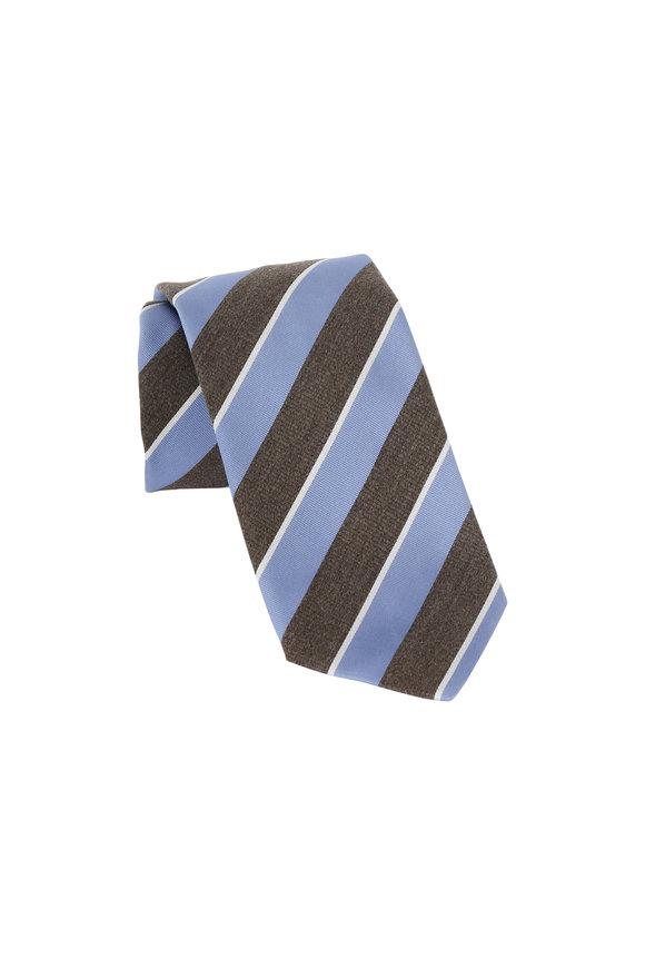 Eton Brown & Blue Striped Silk Necktie