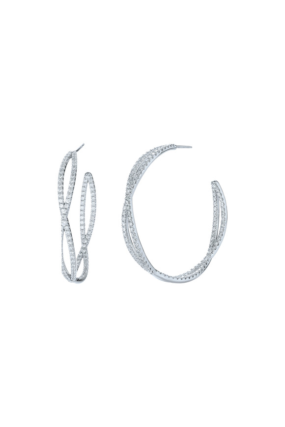Kwiat 18K White Gold Diamond Hoops
