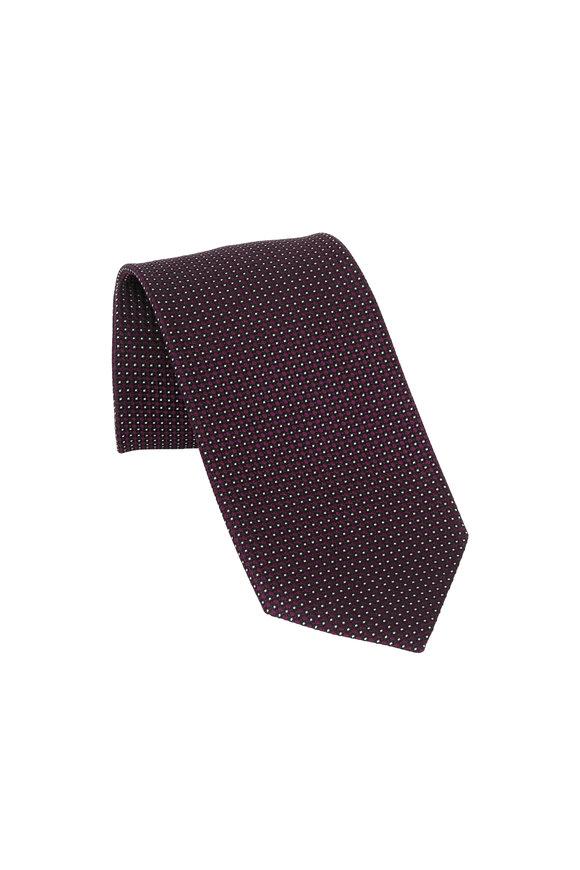 Ermenegildo Zegna Purple Geometric Patterned Silk Necktie