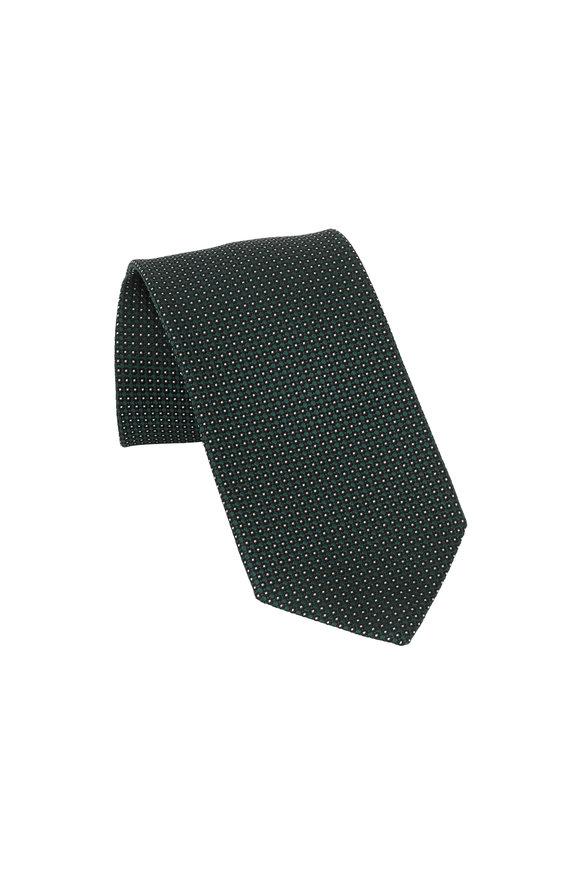 Ermenegildo Zegna Green Geometric Patterned Silk Necktie