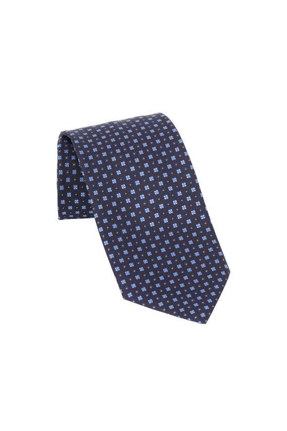 Ermenegildo Zegna Navy Blue Geometric Patterned Silk Necktie