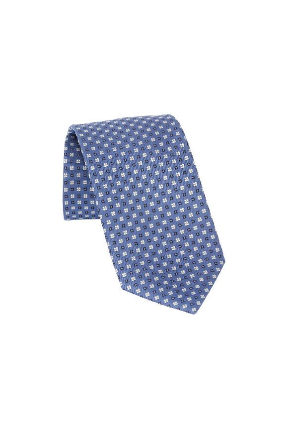 Ermenegildo Zegna Light Blue Geometric Patterned Silk Necktie