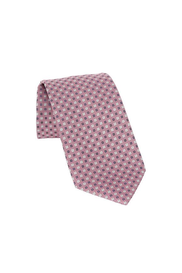 Ermenegildo Zegna Pink Geometric Patterned Silk Necktie