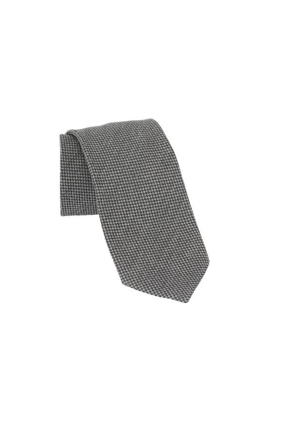 Ermenegildo Zegna Light Gray Geometric Patterned Silk & Wool Necktie