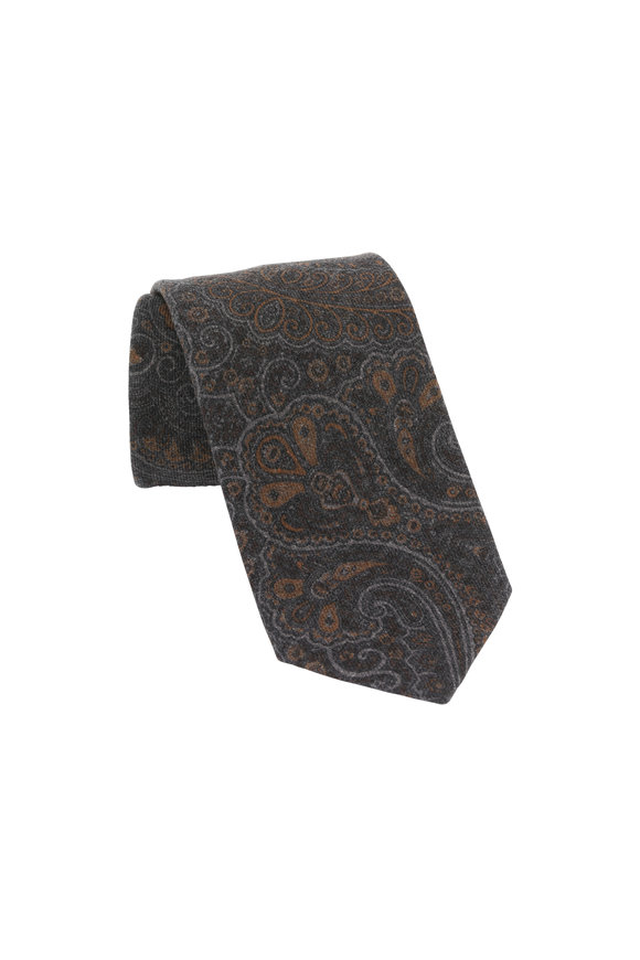 Ermenegildo Zegna Brown Paisley Wool Necktie