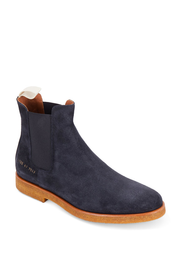 Common Projects Navy Blue Waxed Suede Chelsea Boot