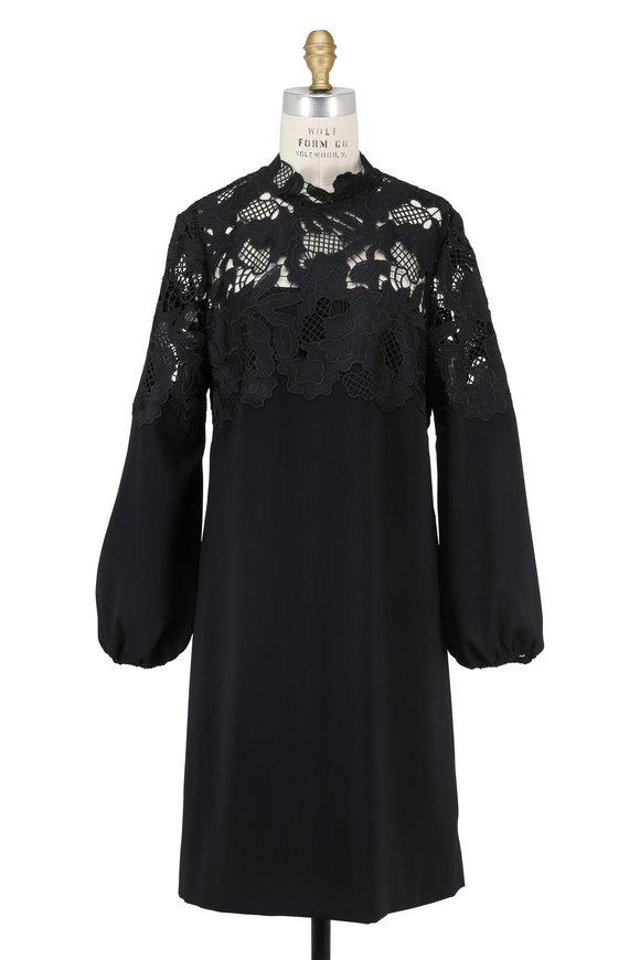 Lela Rose Black Guipure Lace Yoke Long Sleeve Dress