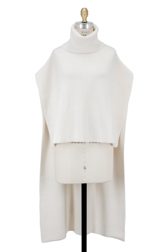 Rosetta Getty Ivory Ribbed Turtleneck Cashmere Poncho