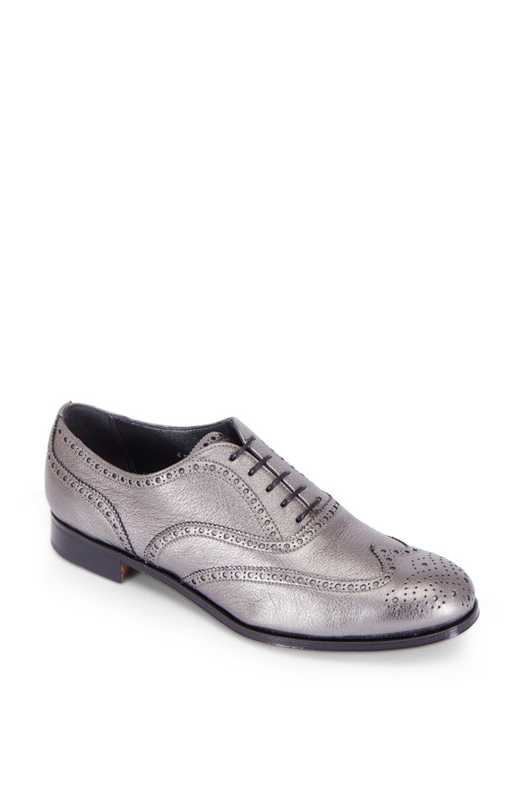 Gravati Anthracite Metallic Leather Wingtip Oxford