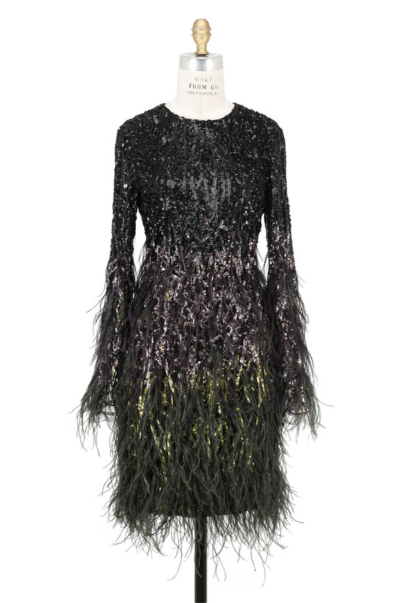 Pamella Roland Mosaic Ombré Black & Moss Ostrich Feather Dress