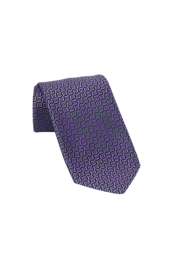 Charvet Purple Geometric Patterned Silk Necktie