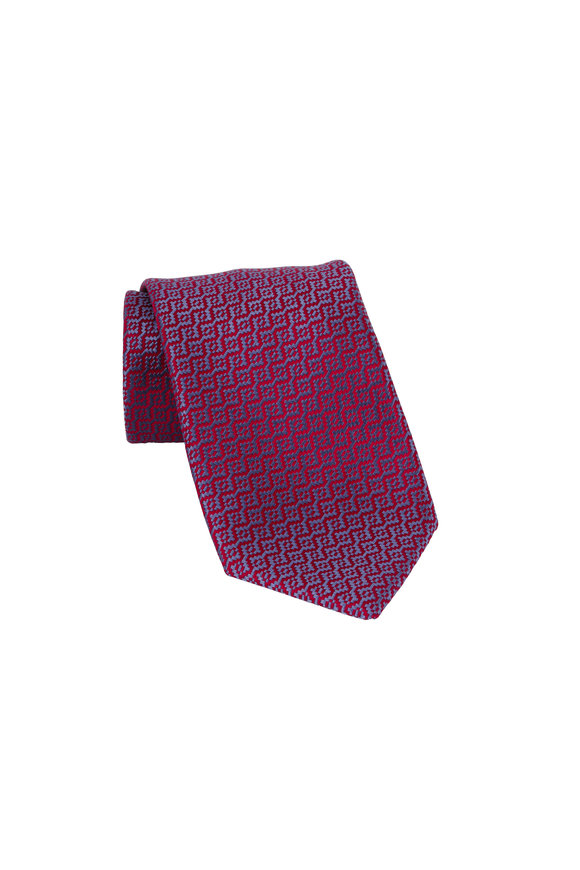 Charvet Burgundy Geometric Patterned Silk Necktie