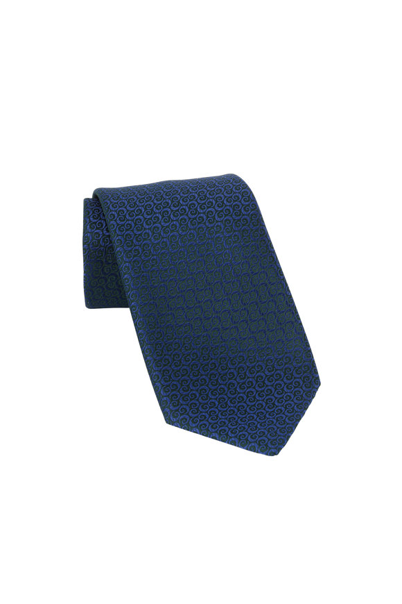 Charvet Dark Green Geometric Patterned Silk Necktie