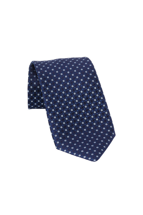 Charvet Navy Blue Geometric Patterned Silk Necktie