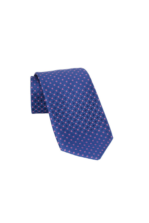 Charvet Blue & Pink Geometric Patterned Silk Necktie