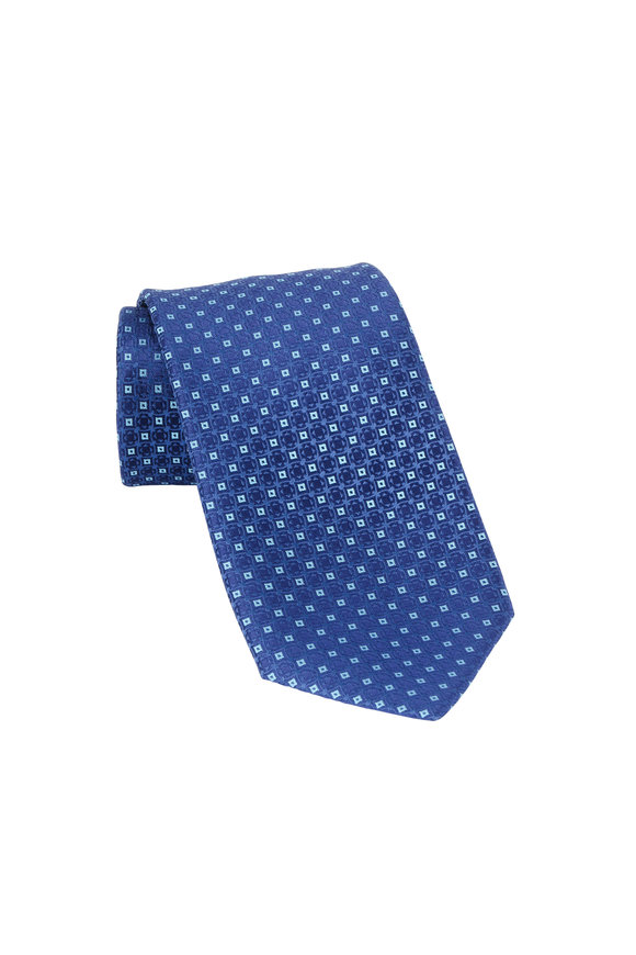 Charvet Blue Geometric Patterned Silk Necktie