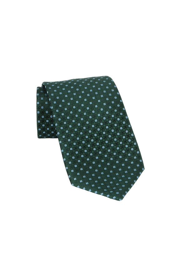 Charvet Green & Blue Geometric Patterned Silk Necktie