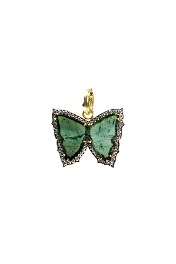 Sylva & Cie 18K Gold Tourmaline & Diamond Butterfly Pendant