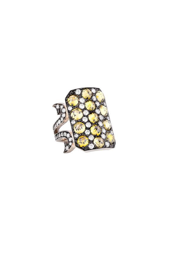 Sylva & Cie 18K Gold Diamond Ten Table Ring