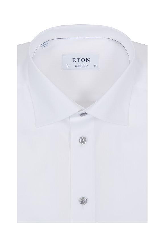 Eton White Gray Button Contemporary Fit Dress Shirt