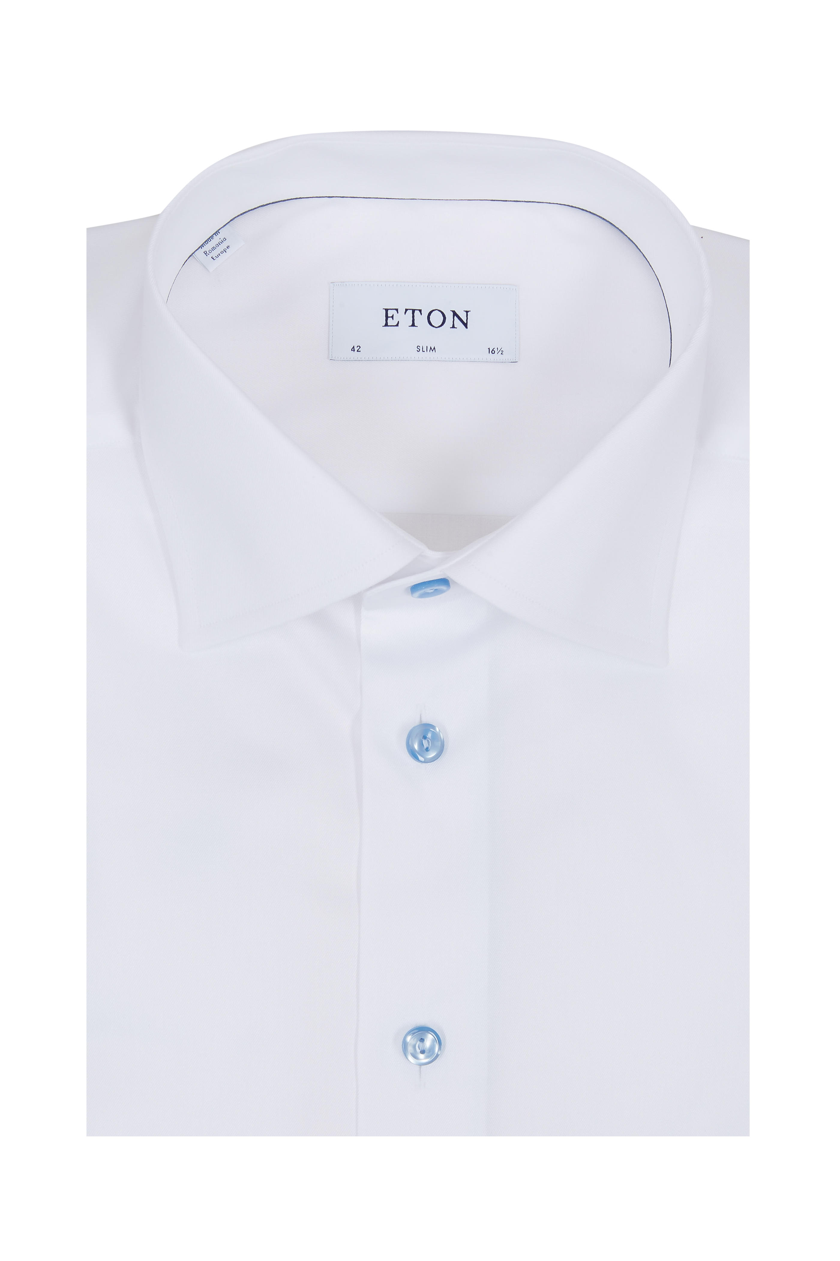 5ed97d7fa453af Eton - White Blue Button Slim Fit Dress Shirt | Mitchell Stores