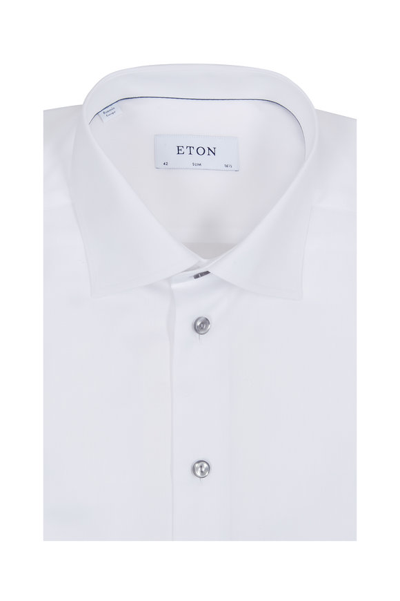 Eton White Gray Button Slim Fit Dress Shirt