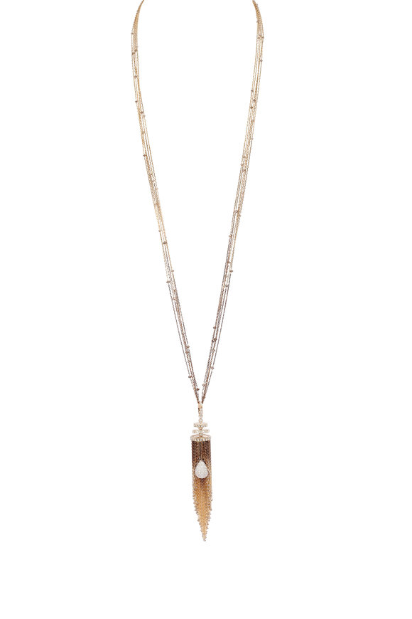 Mariani Yellow Gold Brown Diamond Tassel Necklace
