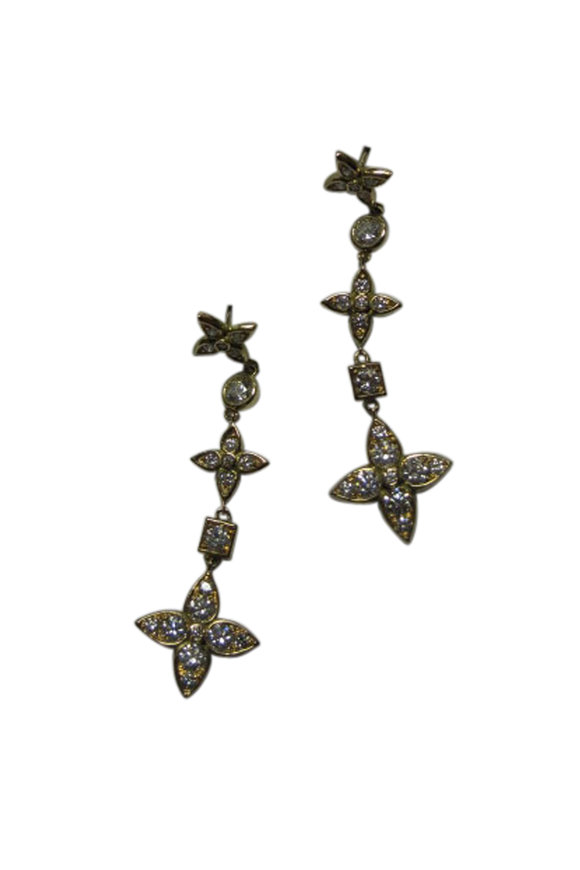 Mariani 18K Yellow Gold Diamond Flower Drop Earrings