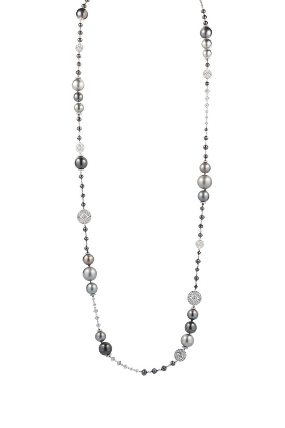 Mariani 18K White Gold Tahitian Pearl & Diamond Necklace