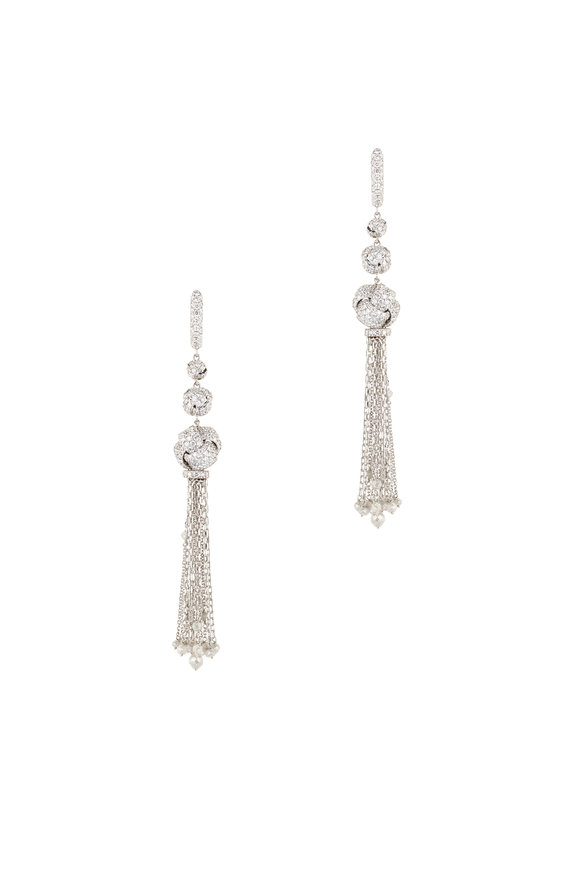 Mariani 18K White Gold Ice Diamond Tassel Earrings