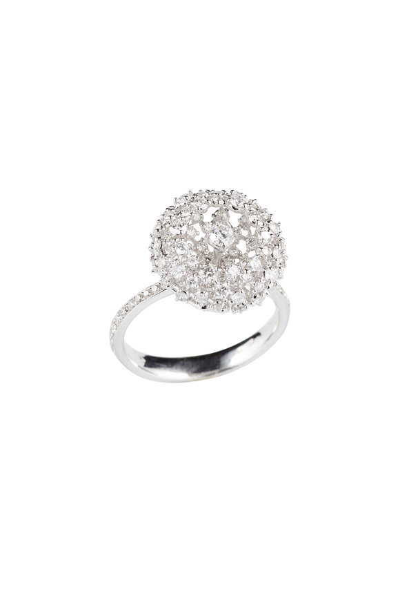 Mariani 18K White Gold Diamond Pom Pom Ring