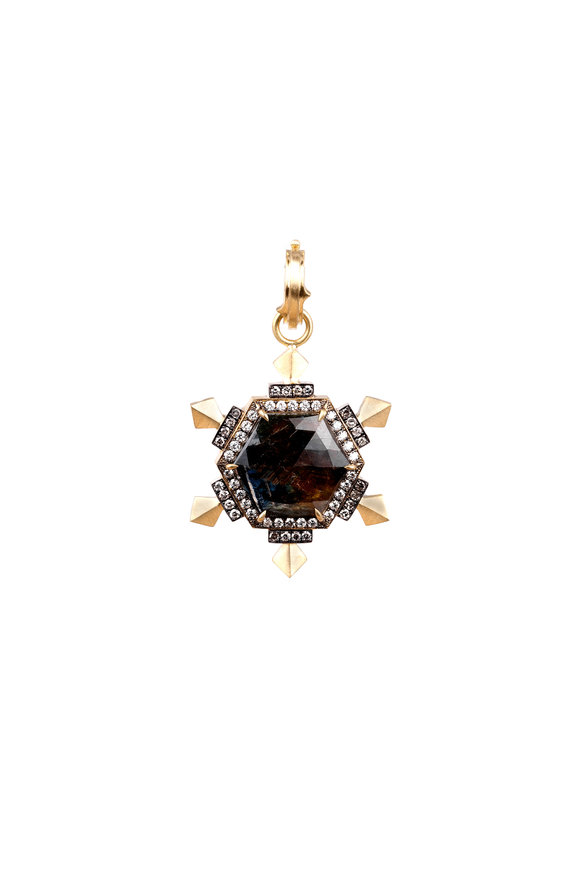 Sylva & Cie 18K Yellow Gold Kenyan Sapphire & Diamond Pendant