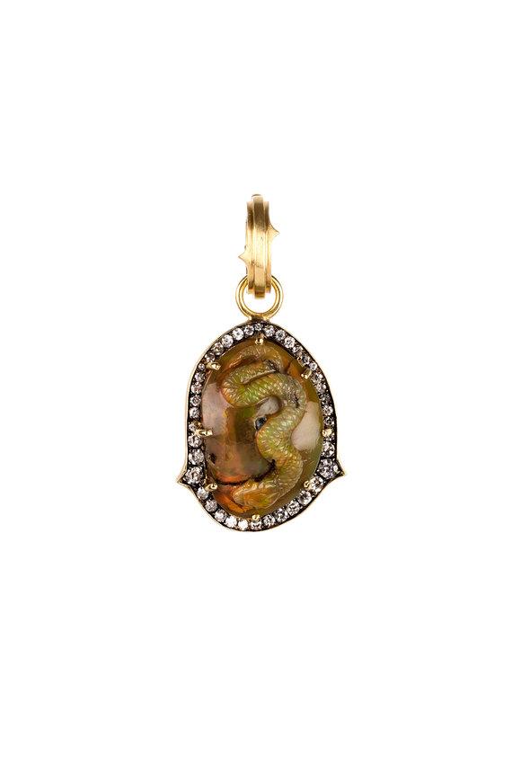 Sylva & Cie 18K Yellow Gold Opal & Diamond Snake Pendant