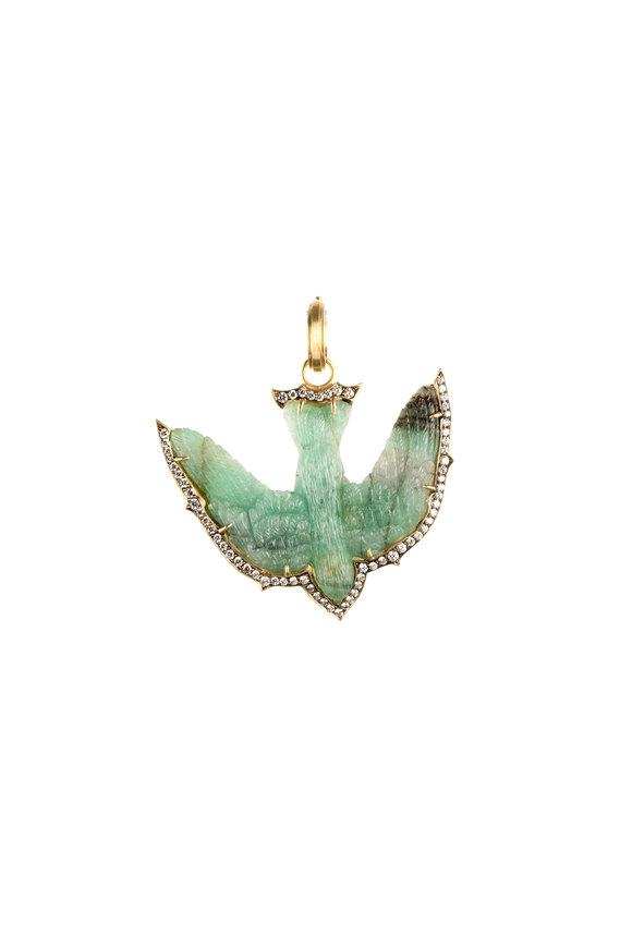Sylva & Cie 18K Yellow Gold Jade & Diamond Swallow Pendant